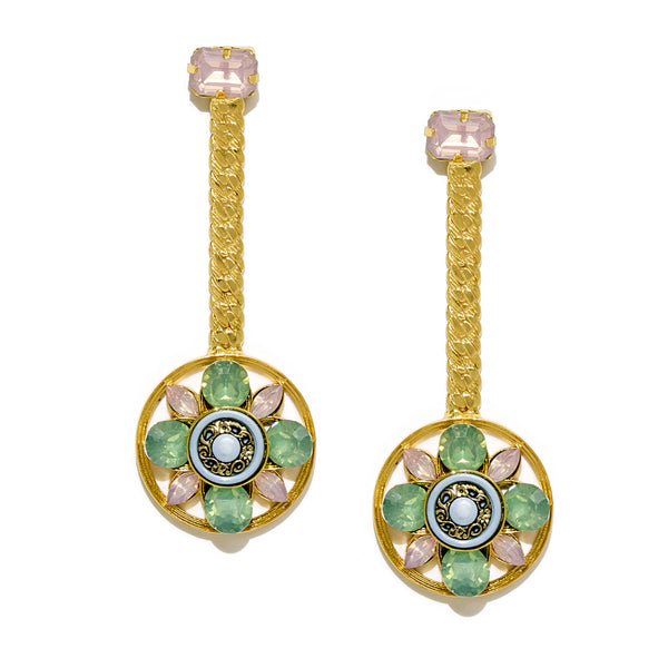 Wheel with Flower Dangling Earrings