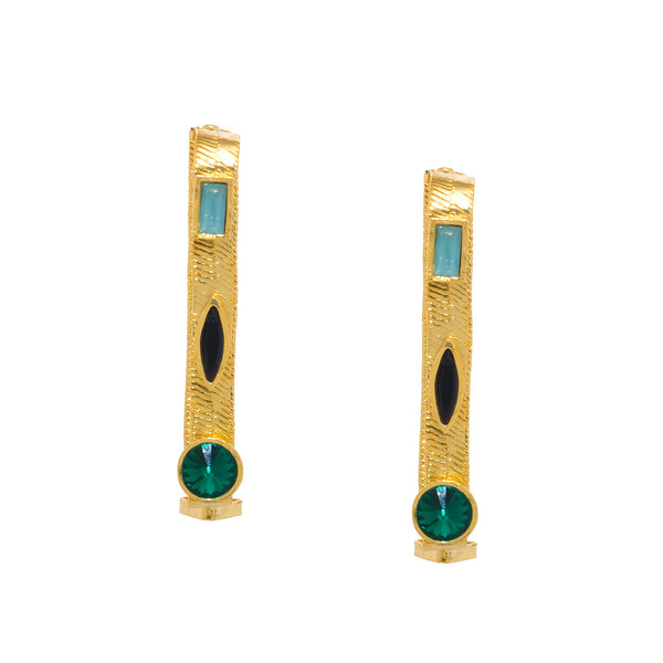 Jewelled Rectange Hoop Earrings