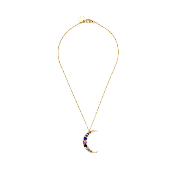 Multi Stone Crescent Moon Necklace