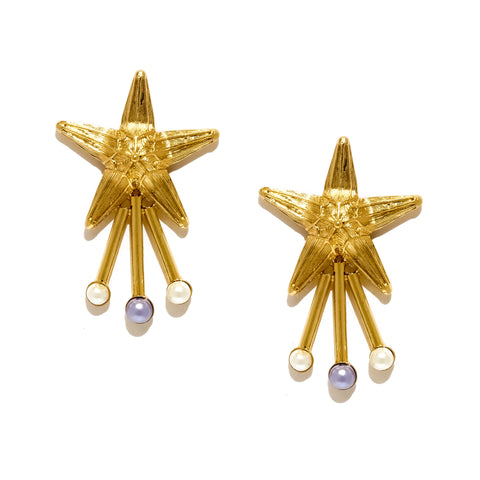 Star with Three Pearls Earrings