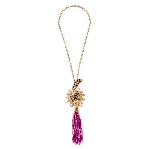 Raksha Dark Pink Bead Tassel Necklace