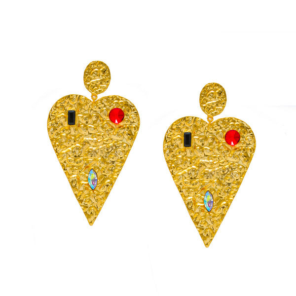 Long Beaten Heart Earrings