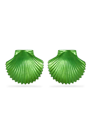 Green Metallic Shell Earrings