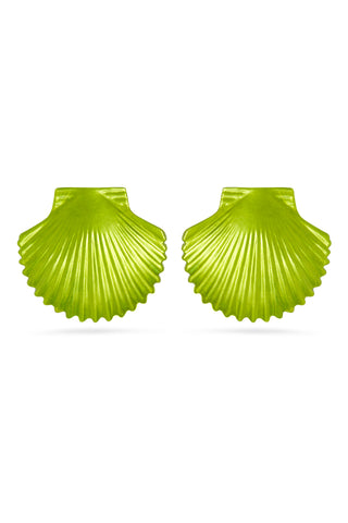 Lime Green Metallic Shell Earrings