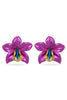 Dark Purple Metallic Orchid Earrings