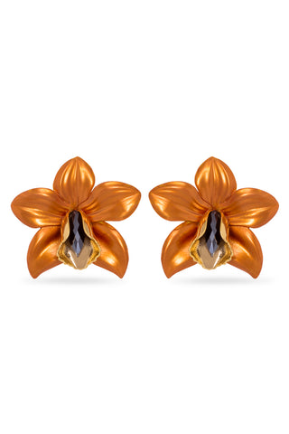 Orange Metallic Orchid Earrings