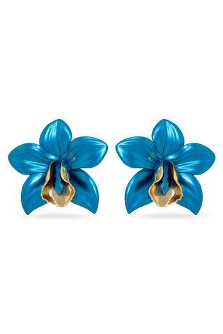 Blue Metallic Orchid Earrings
