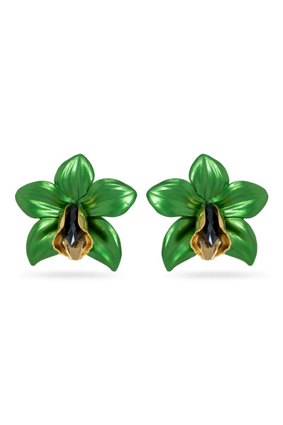 Green Metallic Orchid Earrings