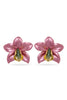 Pink Metallic Orchid Earrings