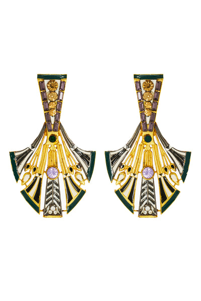 Green Egyptian Feather Earrings