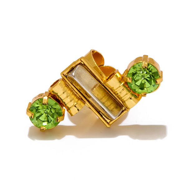 Double Lime Green Stone Mid Ring