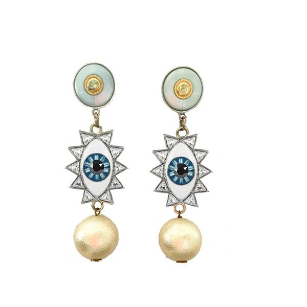 Silver Evil Eye Dangling Earring