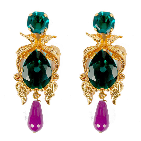 Emerald with Purple Drop Earrings