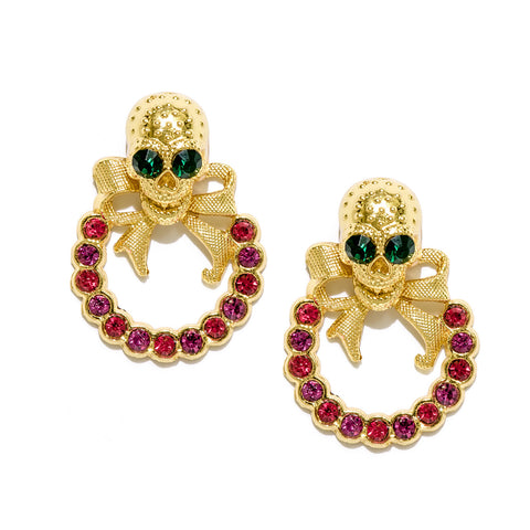 Skull Bow Earrings with Red stones