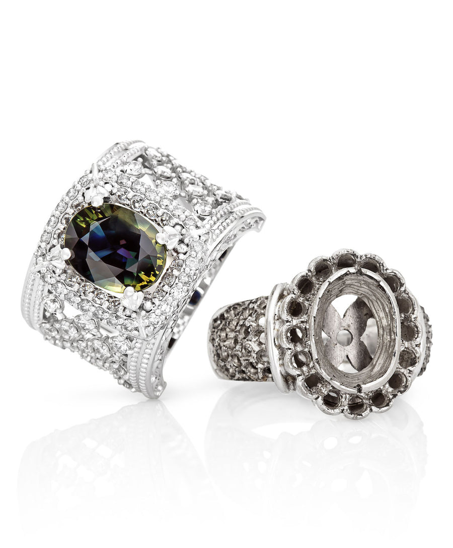 Oval Shape Blue Green Sapphire & Diamond Dress Ring