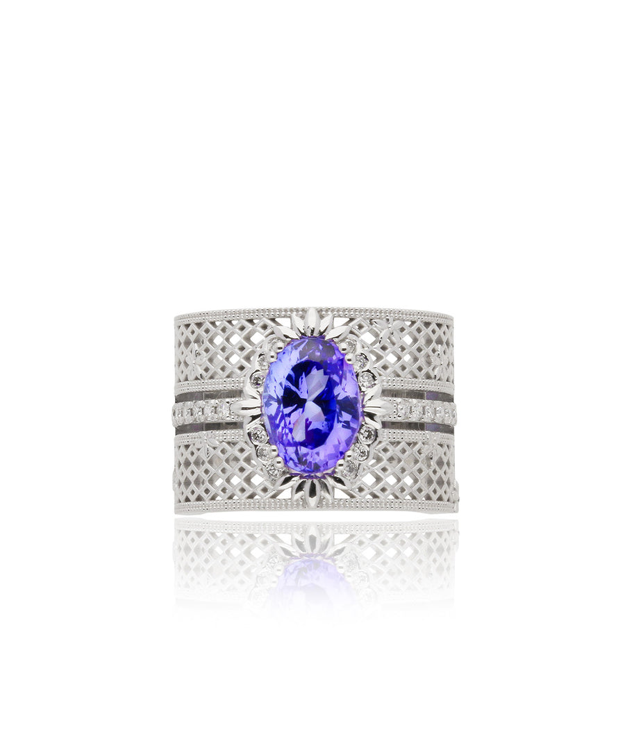 Iolite and Diamond Basket Weave Dress Ring