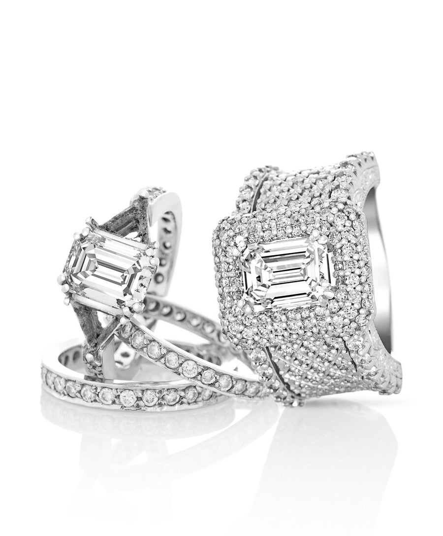 Carre Diamond Set Wedding Ring