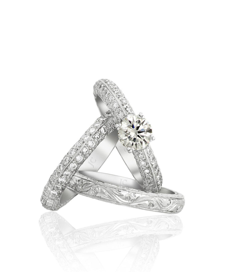 Amara Engagement Ring and Wedding Bands