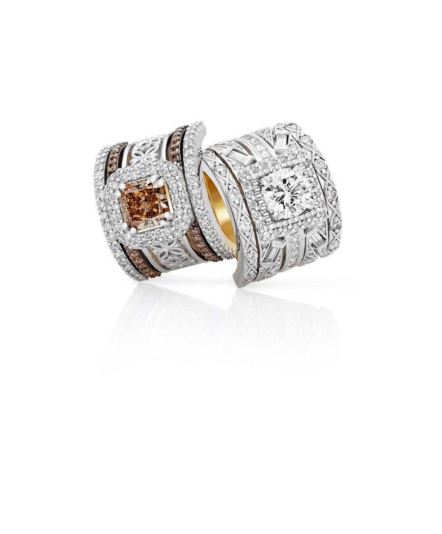 Cognac and Diamond Wedding Rings