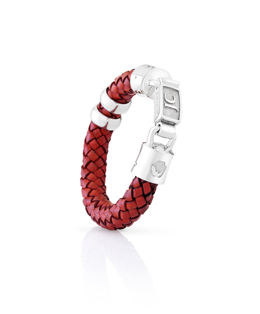 Broad Woven Leather Rhino Bracelet