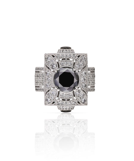 Black Diamond Art Deco Ring