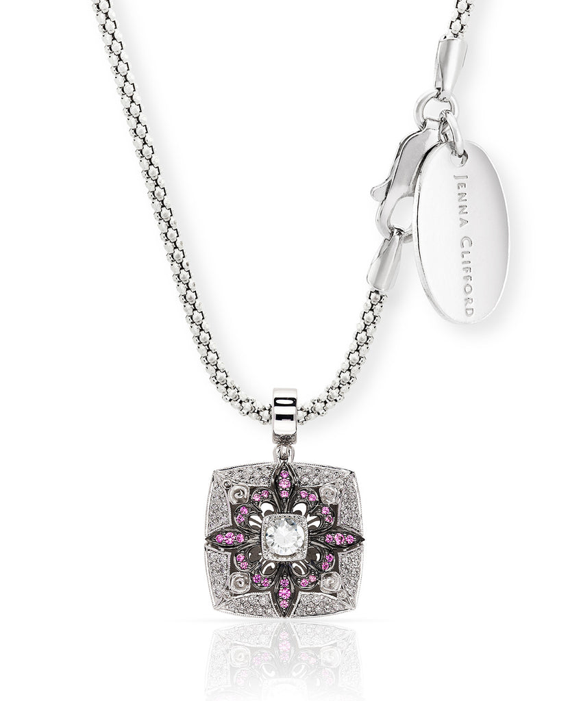 Floral Motif Pink Sapphire and Diamond Pendant