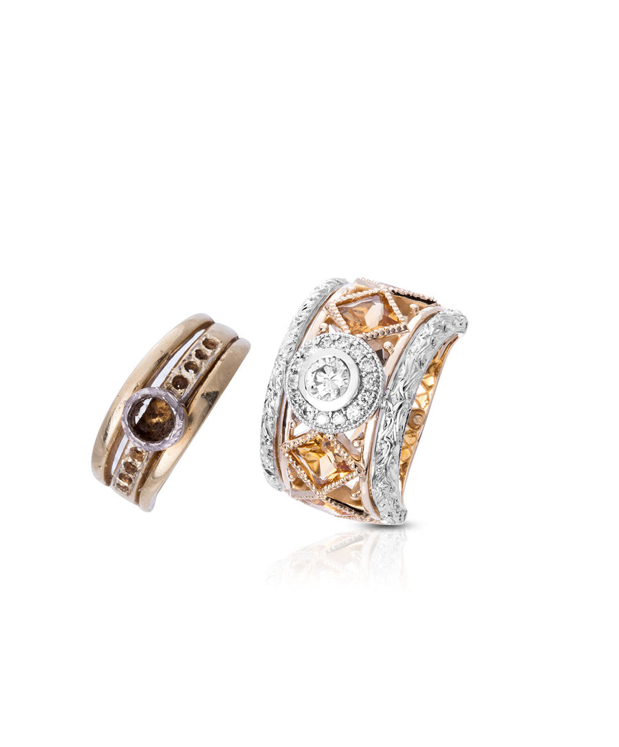 Diamond and Citrine Dress Ring