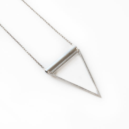 Barred Triangle Silver Necklace