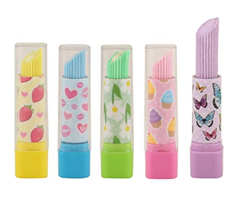 10 x Lipstick Erasers/Rubbers Girls Party Bag Fillers - Assorted Colours