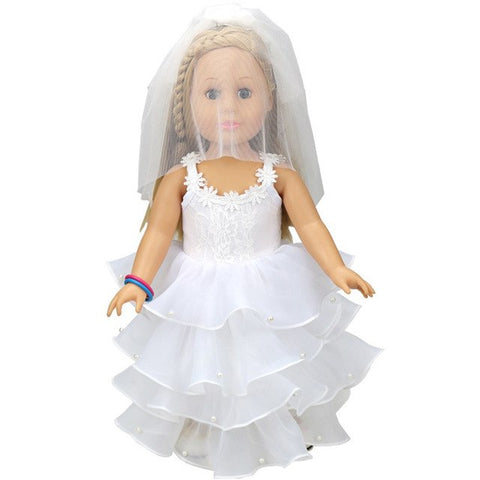White Communion Dress For 18 inch Doll