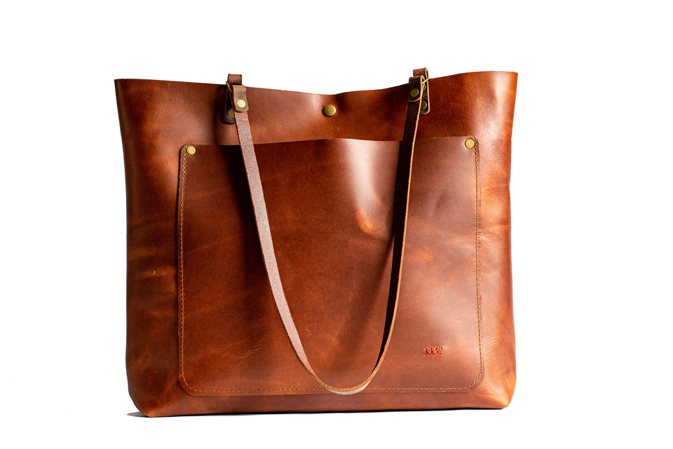 handmade leather tote bag