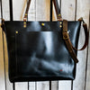 Handmade Classic Leather Zipper Tote Large,  - In Blue Handmade