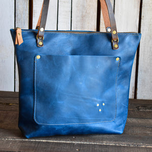 Limited Edition Handmade Leather Zipper Tote Medium,  - In Blue Handmade