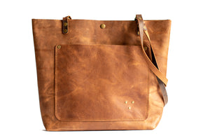 Handmade Leather Tote Bag Light Brown Chestnut