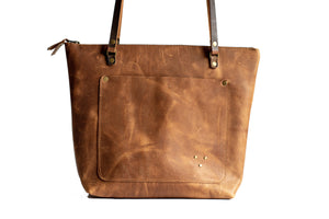 Handmade Leather Tote Bag Zipper Light Brown