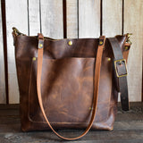 Limited Edition Handmade Leather Zipper Tote Small,  - In Blue Handmade