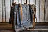 Handmade Deluxe Leather Tote Bag With Pockets,  - In Blue Handmade