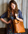 Handmade Classic Leather Tote Bag Large,  - In Blue Handmade