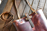 Handmade Deluxe Leather Market Tote,  - In Blue Handmade