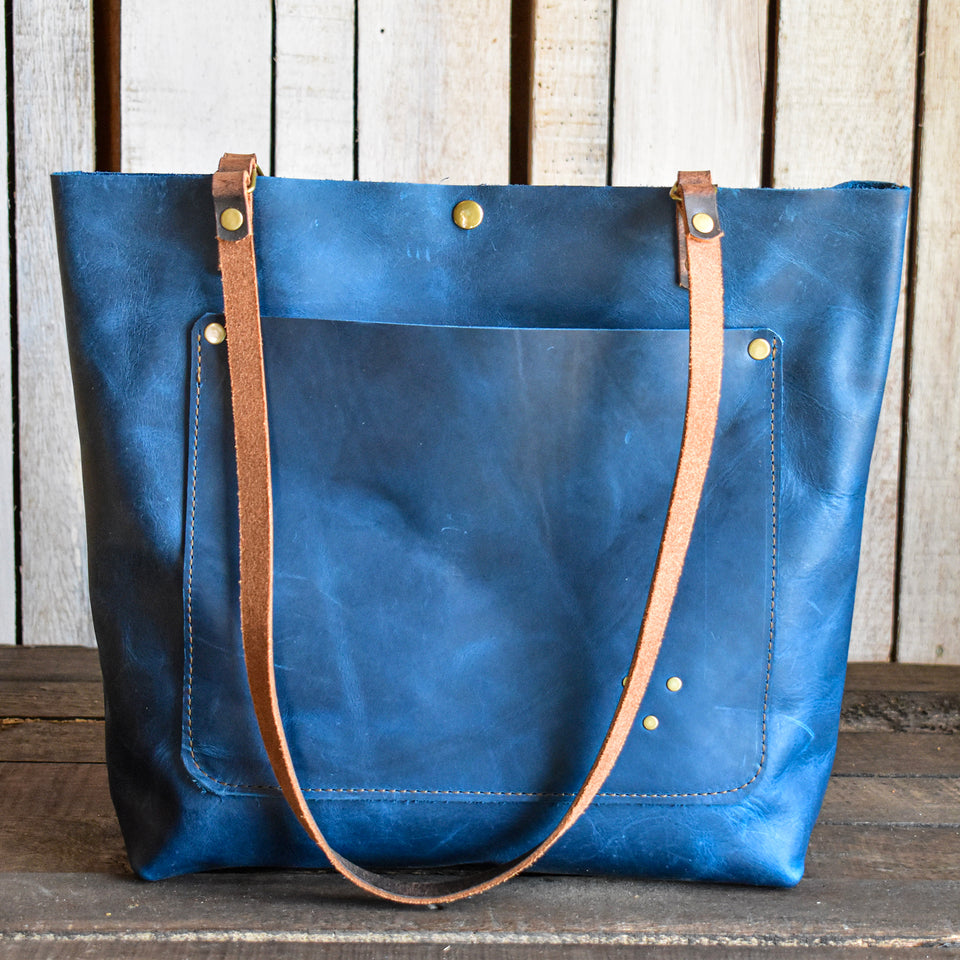 Limited Edition Handmade Leather Tote Bag Medium,  - In Blue Handmade
