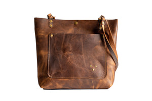 Handmade Leather Tote Bag Small Mahogany Brown