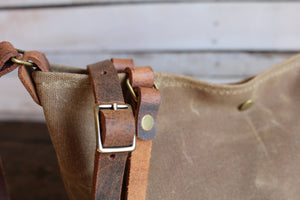 Handmade Waxed Canvas Tote Bag Lined Small,  - In Blue Handmade