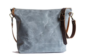 Handmade Waxed Canvas Convertible Backpack Tote Crossbody,  - In Blue Handmade