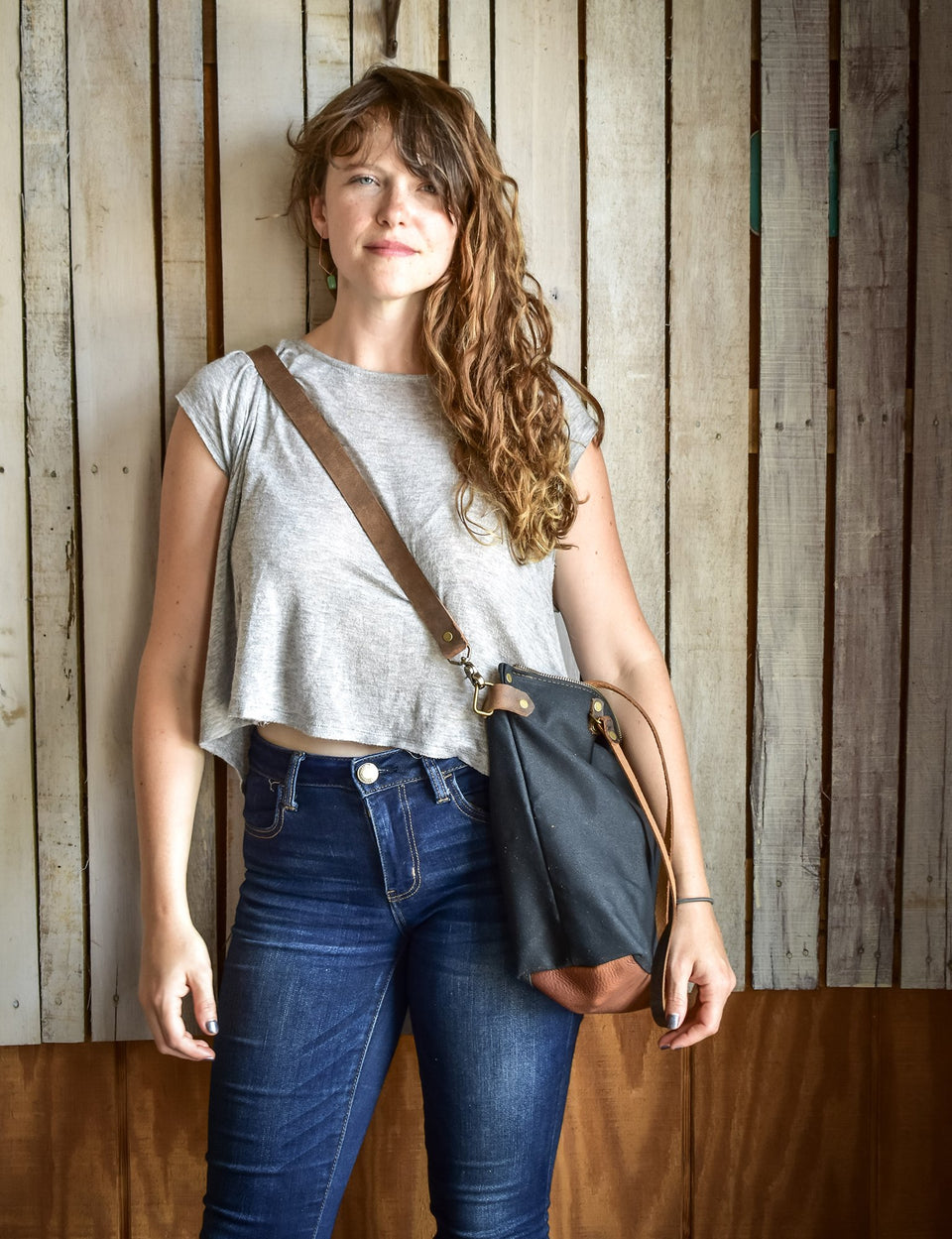 Handmade Waxed Canvas Lined Zipper Tote Large,  - In Blue Handmade