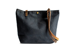 Handmade Small Waxed Canvas Tote Bag