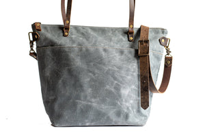 Handmade Waxed Canvas Deluxe Market Tote,  - In Blue Handmade