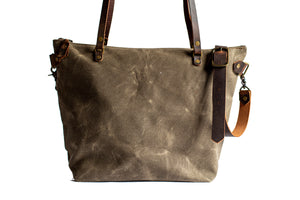 Handmade Waxed Canvas Tote Bag Zipper