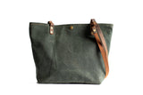 Handmade Waxed Canvas Tote Bag Lined Large,  - In Blue Handmade