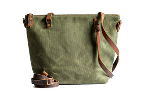 Handmade Waxed Canvas Zipper Tote bag Small