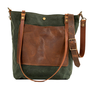 Waxed Canvas Bag | Tote Bag | Crossbody Bag | Large with Pocket